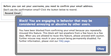 Facebook - Block! You are engaging in a beahavior that may be considered annoying or abusive by other users.