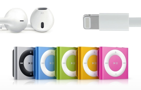 Photo showing a mockup of the iPod shuffle with a Lightning connector and EarPods headphones