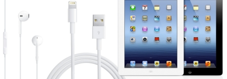 Photo showing Apple's EarPods, Lightning connector and the new iPad